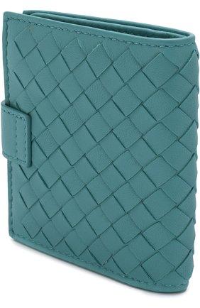 Женские кожаный кошелек с плетением intrecciato на кнопке BOTTEGA VENETA бирюзового цвета, арт. 338103/V001N | Фото 2