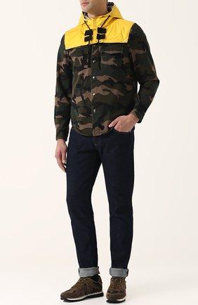 Мужские текстильные кроссовки valentino garavani rockrunner с замшевой отделкой VALENTINO хаки цвета, арт. PY2S0952/NYM   Фото 2