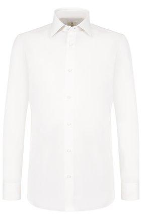 Хлопковая сорочка с воротником кент Luigi Borrelli кремовая | Фото №1