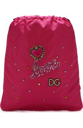 Детская текстильный рюкзак с аппликациями DOLCE & GABBANA фуксия цвета, арт. EB0132/AN459 | Фото 1