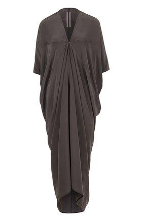 Шелковое платье-миди с драпировкой Rick Owens серое | Фото №1