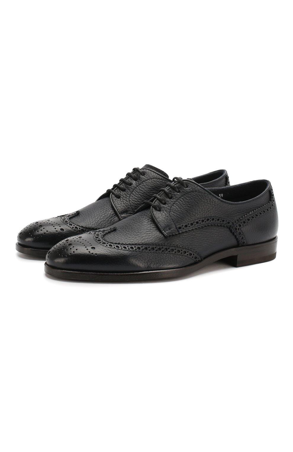 Мужские кожаные дерби H`D`S`N BARACCO темно-синего цвета, арт. 66206.5* | Фото 1 (Мужское Кросс-КТ: Броги-обувь; Материал внутренний: Натуральная кожа; Стили: Классический)
