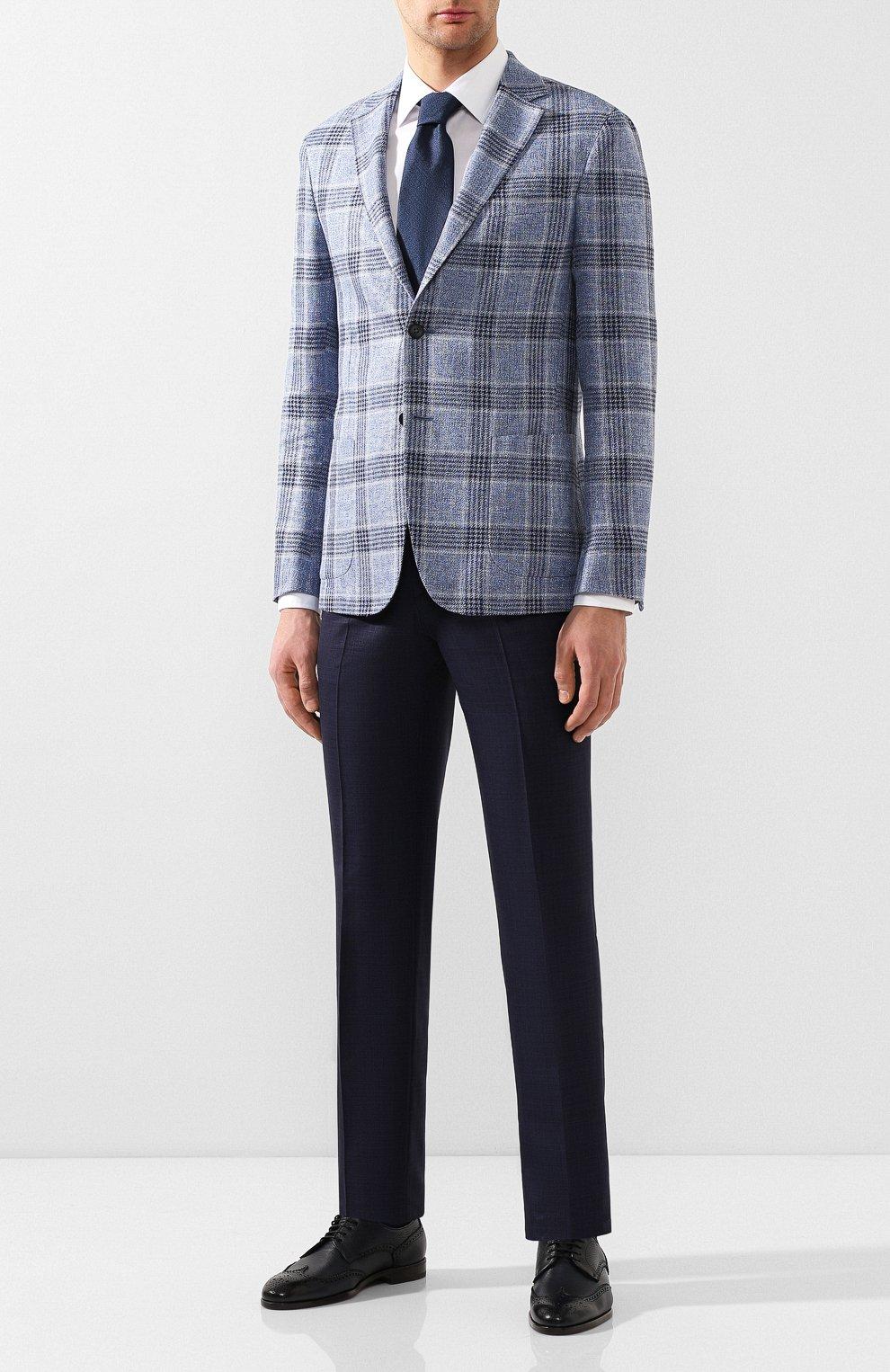 Мужские кожаные дерби H`D`S`N BARACCO темно-синего цвета, арт. 66206.5* | Фото 2 (Мужское Кросс-КТ: Броги-обувь; Материал внутренний: Натуральная кожа; Стили: Классический)