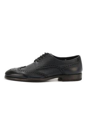 Мужские кожаные дерби H`D`S`N BARACCO темно-синего цвета, арт. 66206.5* | Фото 3 (Мужское Кросс-КТ: Броги-обувь; Материал внутренний: Натуральная кожа; Стили: Классический)