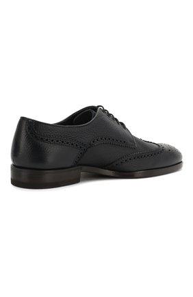 Мужские кожаные дерби H`D`S`N BARACCO темно-синего цвета, арт. 66206.5* | Фото 4 (Мужское Кросс-КТ: Броги-обувь; Материал внутренний: Натуральная кожа; Стили: Классический)