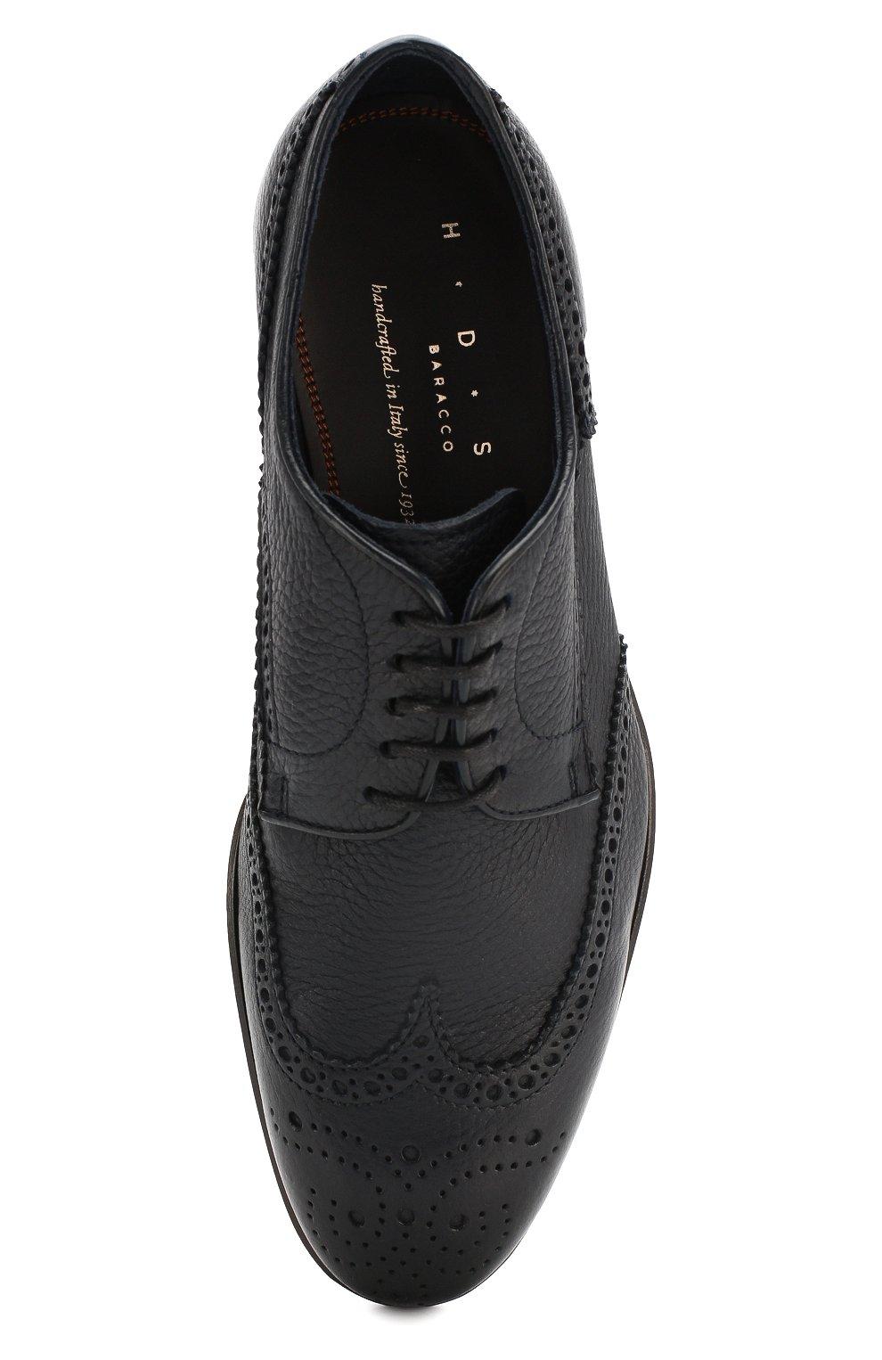 Мужские кожаные дерби H`D`S`N BARACCO темно-синего цвета, арт. 66206.5* | Фото 5 (Мужское Кросс-КТ: Броги-обувь; Материал внутренний: Натуральная кожа; Стили: Классический)