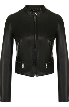 Женская приталенная кожаная куртка с воротником-стойкой DOLCE & GABBANA черного цвета, арт. F9831L/FULYE | Фото 1