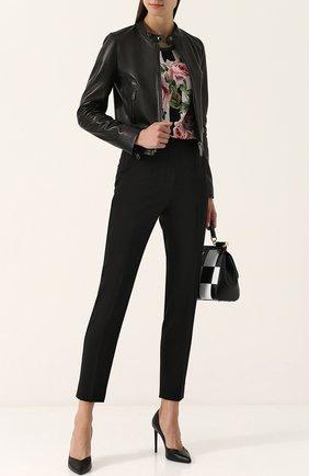 Женская приталенная кожаная куртка с воротником-стойкой DOLCE & GABBANA черного цвета, арт. F9831L/FULYE | Фото 2