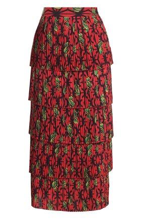 Многоярусная плиссированная юбка-миди с принтом | Фото №1