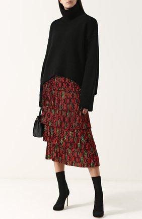 Многоярусная плиссированная юбка-миди с принтом Stella Jean красная | Фото №1