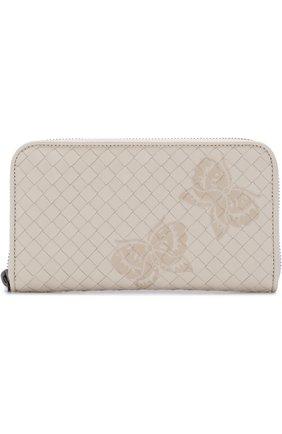 Кожаный кошелек с плетением intrecciato и принтом на молнии | Фото №1