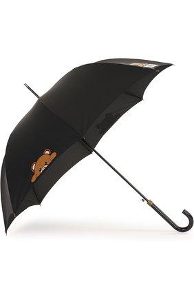 Зонт-трость с принтом Moschino черный   Фото №2