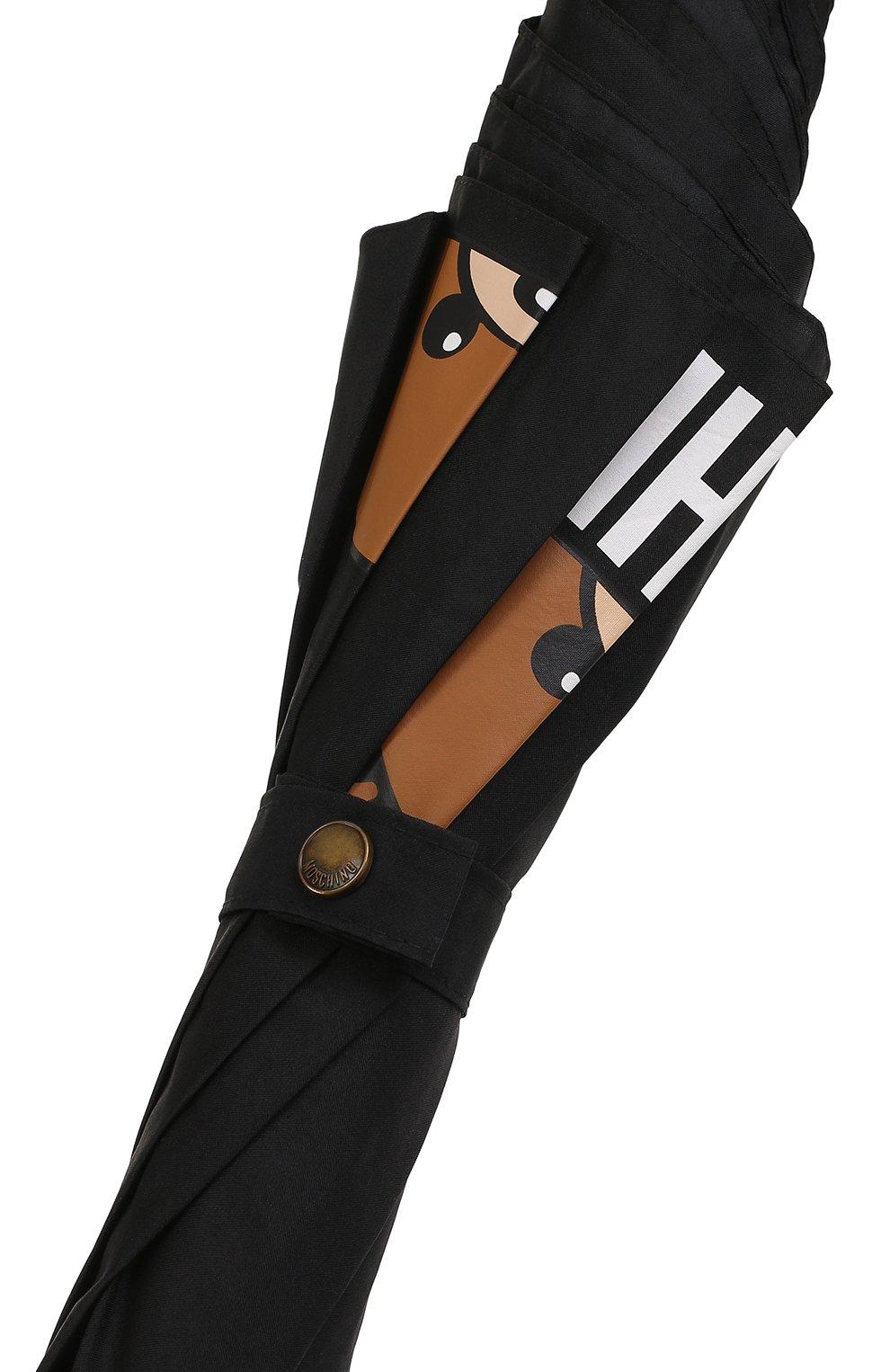 Зонт-трость с принтом Moschino черный   Фото №5