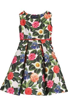 Платье из хлопка и шелка с принтом и контрастным поясом | Фото №1