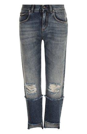 Женские укороченные джинсы прямого кроя с потертостями DOLCE & GABBANA синего цвета, арт. FTA0PZ/G8V47 | Фото 1