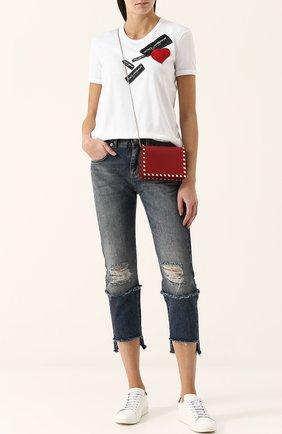 Женские укороченные джинсы прямого кроя с потертостями DOLCE & GABBANA синего цвета, арт. FTA0PZ/G8V47 | Фото 2
