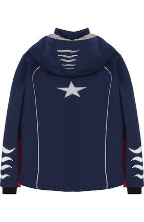 Куртка с капюшоном и контрастной отделкой Bogner Kids синего цвета | Фото №1