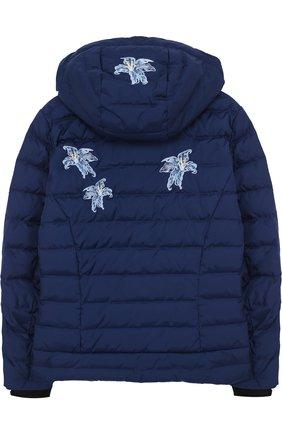 Куртка с аппликациями и капюшоном Bogner Kids синего цвета | Фото №1