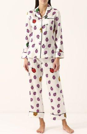 Шелковая пижама с контрастным принтом Olivia Von Halle бежевая | Фото №1