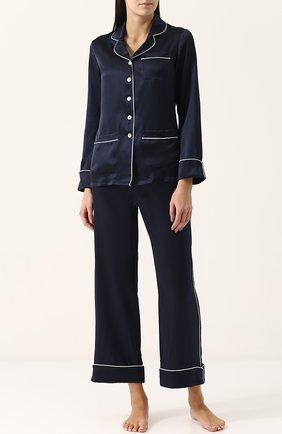Шелковая пижама с контрастной отделкой Olivia Von Halle темно-синяя | Фото №1