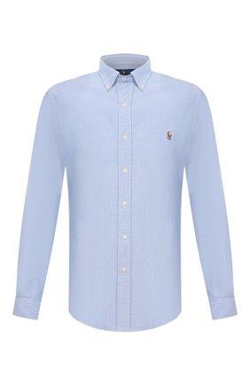 Мужская хлопковая рубашка с воротником button down POLO RALPH LAUREN голубого цвета, арт. 710549084   Фото 1 (Длина (для топов): Стандартные; Рукава: Длинные; Материал внешний: Хлопок; Случай: Повседневный; Воротник: Button down; Манжеты: На пуговицах; Принт: Однотонные)
