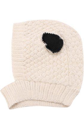 Шерстяная шапка фактурной вязки Oeuf белого цвета | Фото №1