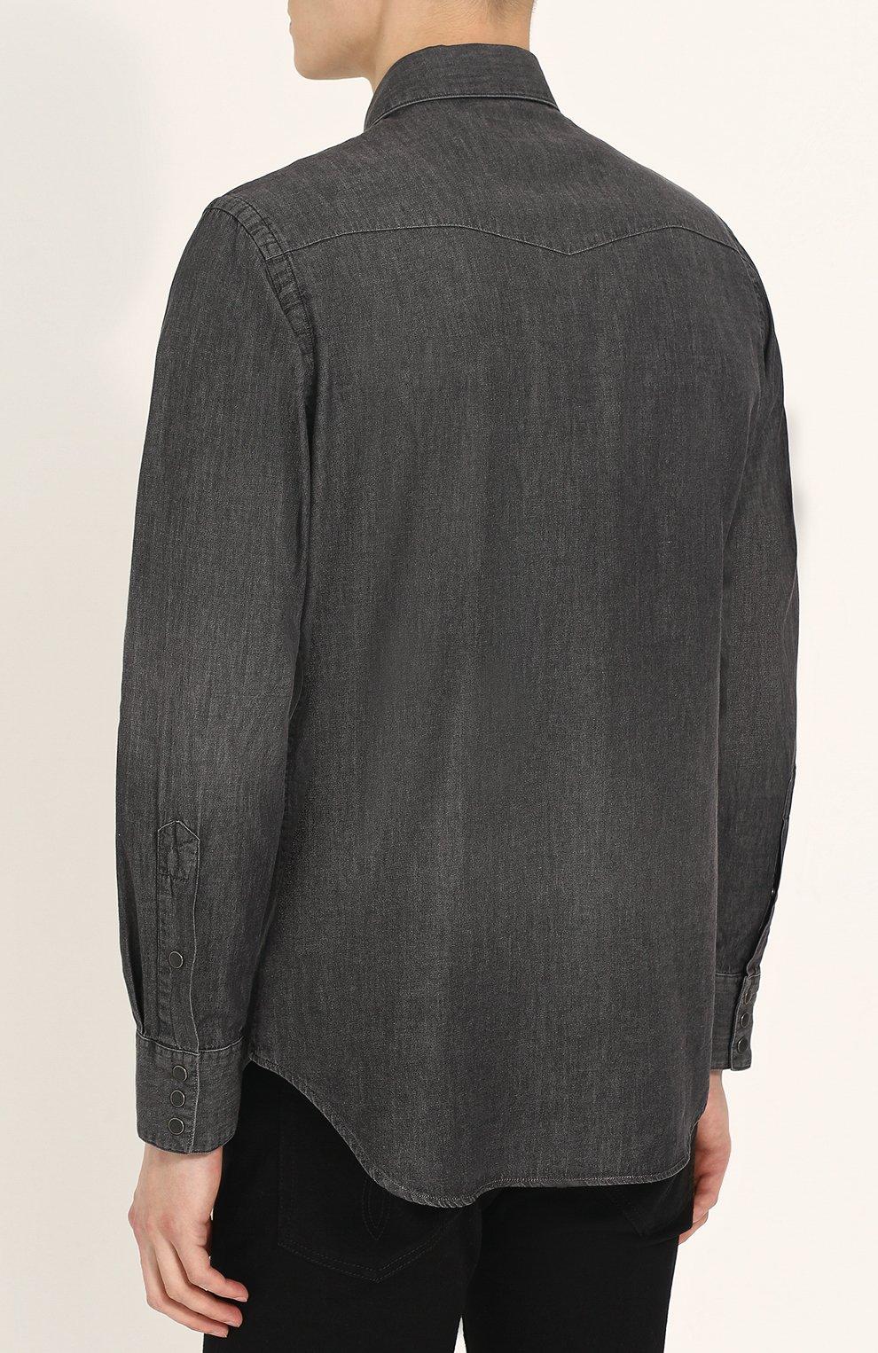 cd410723cd7 Мужская темно-серая джинсовая рубашка на кнопках POLO RALPH LAUREN ...