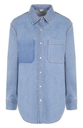 Джинсовая блуза свободного кроя с потертостями | Фото №1