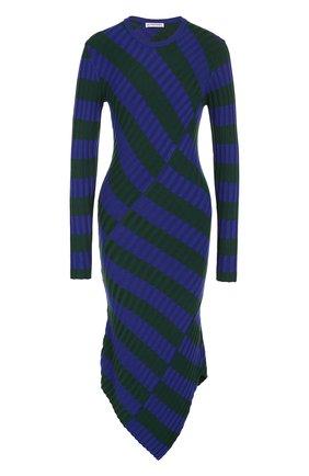 Вязаное платье-миди асимметричного кроя в полоску | Фото №1