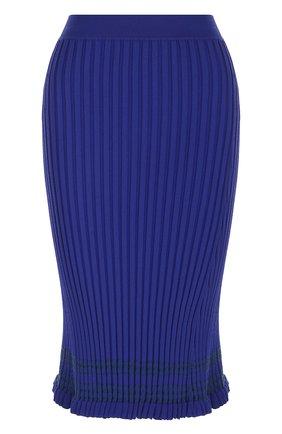 Однотонная юбка-миди фактурной вязки Altuzarra синяя   Фото №1