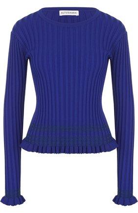 Приталенный пуловер фактурной вязки с круглым вырезом | Фото №1