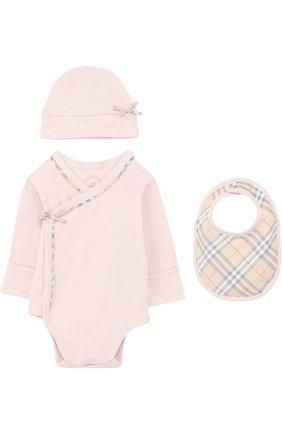 Детское хлопковый комплект из боди с шапкой и нагрудника BURBERRY розового цвета, арт. 3999453 | Фото 1