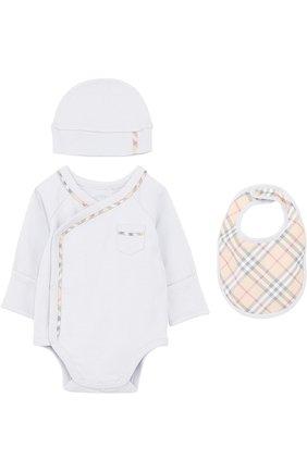 Хлопковый комплект из боди с шапкой и нагрудника | Фото №1