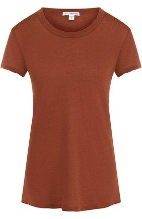Однотонная хлопковая футболка с круглым вырезом | Фото №1