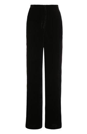 Однотонные шерстяные брюки с широким поясом | Фото №1