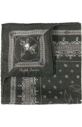 Мужской платок из смеси кашемира и шелка RALPH LAUREN черного цвета, арт. 791669631 | Фото 1
