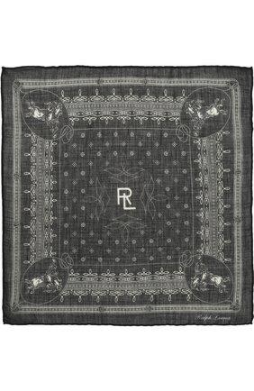 Мужской платок из смеси кашемира и шелка RALPH LAUREN черного цвета, арт. 791669631 | Фото 2