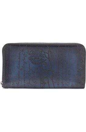 Мужская кожаный футляр для документов на молнии BERLUTI темно-синего цвета, арт. N139684 | Фото 1