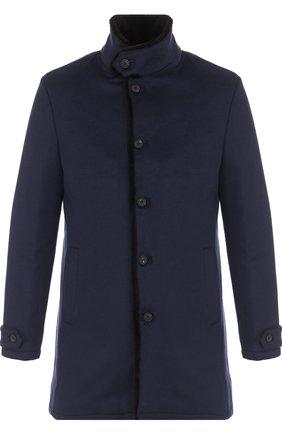 Однобортное кашемировое пальто с меховой подкладкой | Фото №1