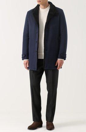 Однобортное кашемировое пальто с меховой подкладкой   Фото №2