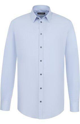 Мужская хлопковая сорочка с воротником кент DOLCE & GABBANA голубого цвета, арт. G5EJ0T/FU5GK | Фото 1