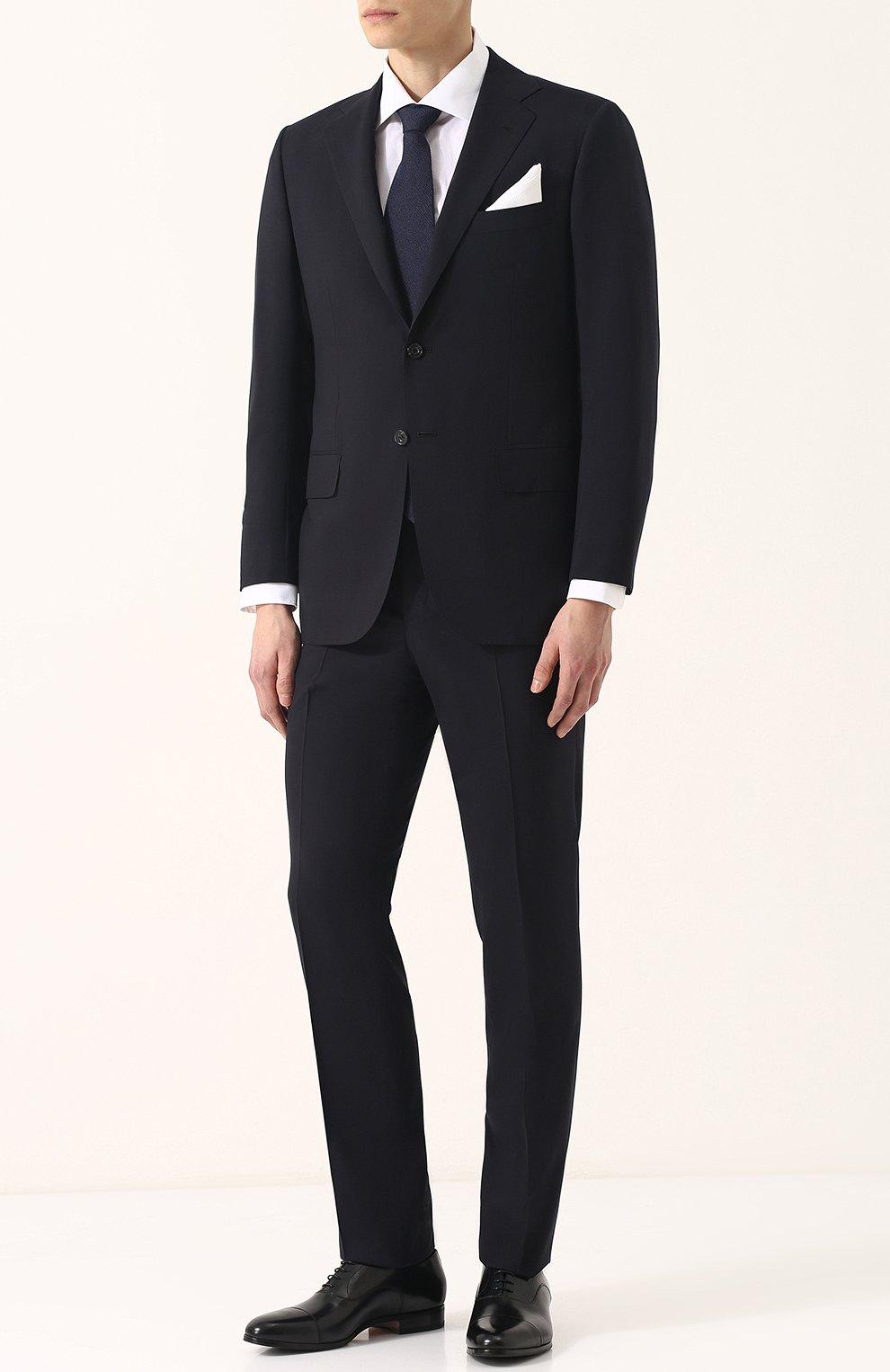 a102c30f2e6 Мужской темно-синий шерстяной костюм KITON — купить за 447500 руб. в ...