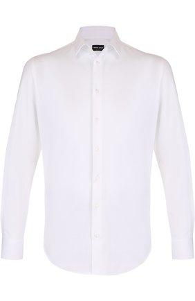 Мужская хлопковая рубашка с воротником кент GIORGIO ARMANI белого цвета, арт. WSC97T/WS79C | Фото 1