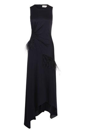 Шелковое платье-миди с драпировкой и перьевой отделкой | Фото №1