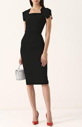 Женское однотонное платье-футляр с коротким рукавом ROLAND MOURET черного цвета, арт. PS18/S0174/F4044   Фото 2