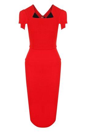 Женское однотонное платье-футляр с коротким рукавом ROLAND MOURET красного цвета, арт. PS18/S0174/F4044   Фото 1