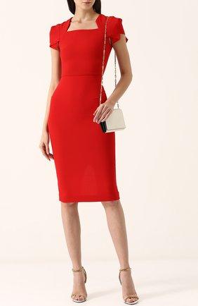 Женское однотонное платье-футляр с коротким рукавом ROLAND MOURET красного цвета, арт. PS18/S0174/F4044   Фото 2