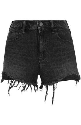 Джинсовые мини-шорты с потертостями | Фото №1