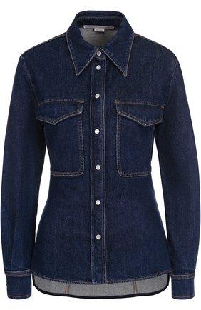 Приталенная джинсовая блуза с потертостями | Фото №1
