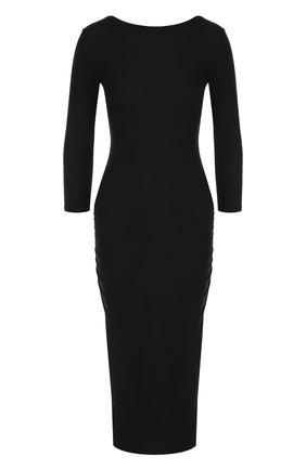 Однотонное хлопковое платье-футляр с драпировкой | Фото №1